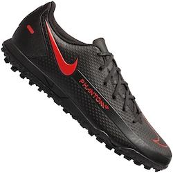 Chuteira Society Nike Phantom GT Club TF - Adulto - PRETO/VERMELHO