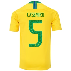 6e79f0196a Camisa Da Seleção Brasileira I 2018 Nike Nº 5 Casemiro - Juvenil - Amarelo  verde