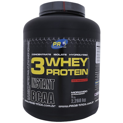 Whey Protein 3 - 2,268 Kg - Sabor Morango - Probiótica
