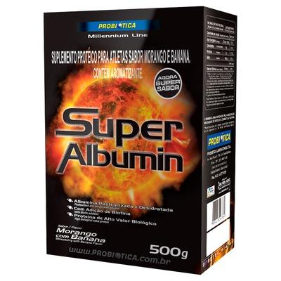 Albumina Probiótica Super Albumin - 500 g - Sabor Morango e Banana