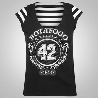 Camiseta Braziline Botafogo Navy Bata Com Manga - Feminina