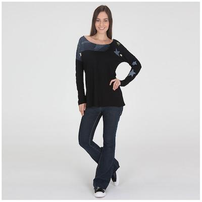 Camiseta Manga Longa Oxer Estrelas Brasil - Feminina