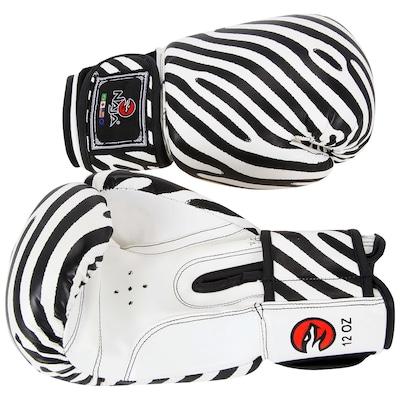 Kit de Boxe Naja Zebra com Luva 12 OZ Bandagem e Protetor Bucal - Adulto