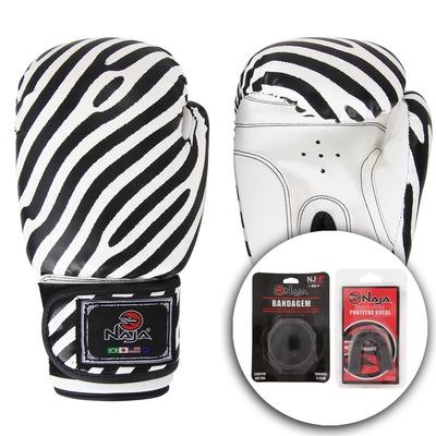 Kit de Boxe Naja Zebra com Luva 14 OZ Bandagem E Protetor Bucal - Adulto