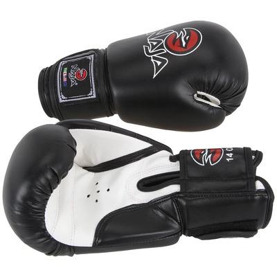 Kit de Boxe Naja Preto com Luva 14 OZ Bandagem e Protetor Bucal - Adulto