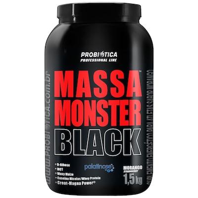 Hipercalórico Probiótica Massa Monster Black - Morango - 1,5Kg