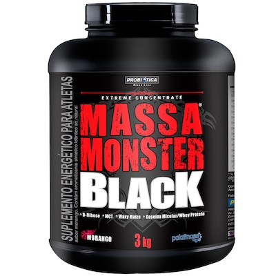MASSA MONSTER BLACK - 3 Kg - Sabor Morango - Probiótica
