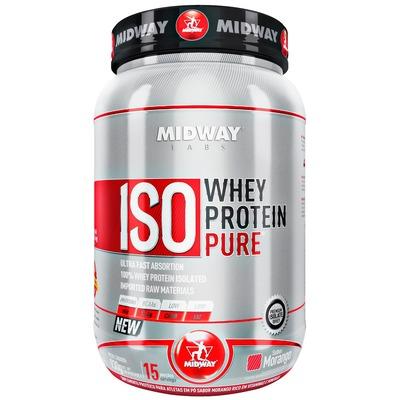 Whey Protein Isolado Midway Iso Whey Protein Pure - Morango - 930gWhey Protein Isolado Midway Iso Wh