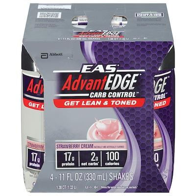 Proteína EAS AdvantEdge Carb Control – 330 ml Cada - 4 Unidades – Sabor Morango – Abbot Nutrition