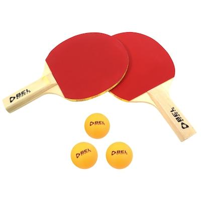 Kit de Tênis de Mesa Bel Fix com 2 Raquetes e 3 Bolas