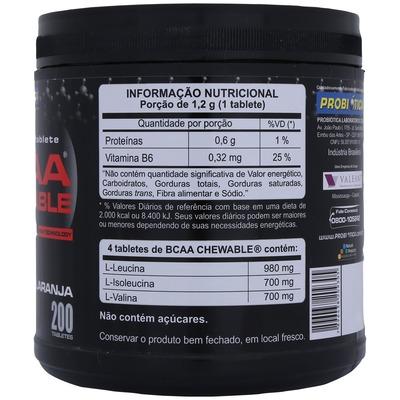 BCAA CHEWABLE® - 200 Tabletes – Sabor Laranja - Probiótica