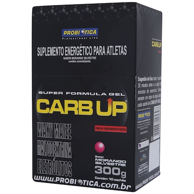 CARB UP® GEL - 300 g – Com 10 Sachês - Sabor Morango Silvestre - Probiótica