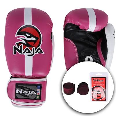Kit de Boxe Naja Classic com Luva 12 OZ Bandagem e Protetor Bucal - Adulto