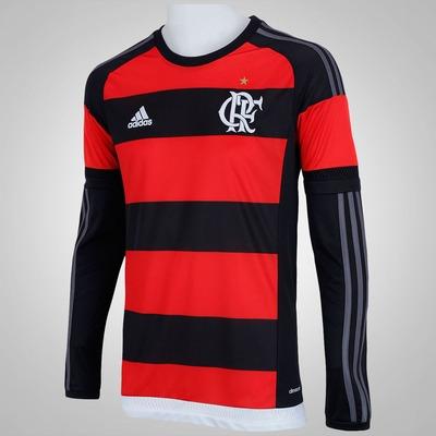 Camisa Manga Longa do Flamengo I 15/16 com Patrocínio adidas - Masculina