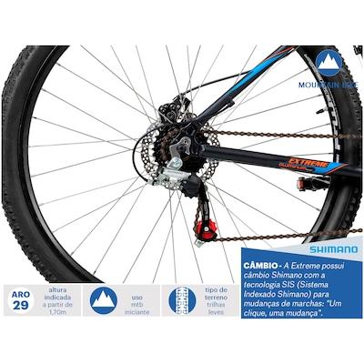 Mountain Bike Caloi Extreme - Aro 29 - Freio a Disco - Câmbios Shimano - 21 Marchas