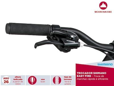 Bicicleta Caloi Montain Aro 26 - Freios V-Brake - Câmbio Shimano - 21 Marchas - Masculina
