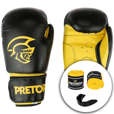 Kit de Boxe Pretorian: Bandagem + Protetor Bucal + Luvas de Boxe First - 14 OZ - Adulto