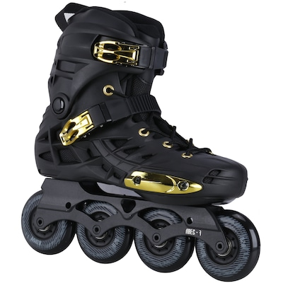 Patins Oxer Darkness Gold - In Line - Freestyle - ABEC 7 - Base de Alumínio -...