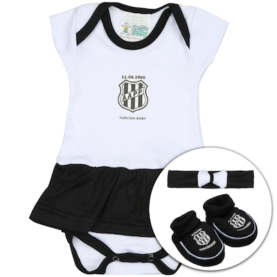 b730c0bd67 Kit de Uniforme de Futebol da Ponte Preta para Bebê  Body + Pantufa +.