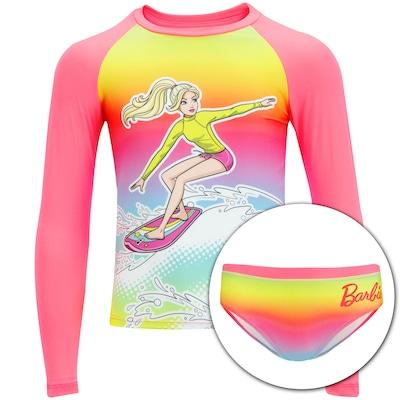 Conjunto de Camiseta Manga Longa com Proteção Solar UV e Sunkini Barbie 2001...