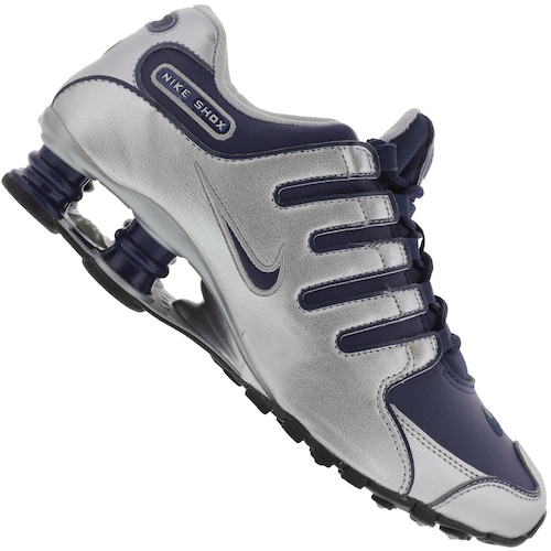 cf76f0a287 Tênis Nike Shox NZ SI - Masculino - PRATA/AZUL ESC   Menor preço com ...