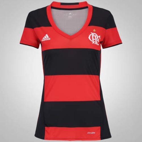 Camisa do Flamengo I 2016 adidas Gola V - Feminina 3b525540b23c6