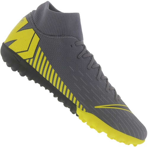 e001526847294 Menor preço em Chuteira Society Nike Mercurial Superfly X 6 Academy TF -  Adulto - CINZA ESCURO/AMARELO. Outras cores. Amarelo Fluor