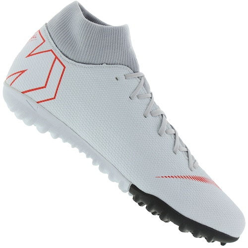 f6fc2e7d75112 Menor preço em Chuteira Society Nike Mercurial Superfly X 6 Academy TF -  Adulto - CINZA CLA/VERMELHO