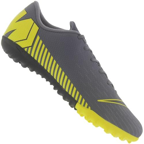 f76fc2e8e1c66 Menor preço em Chuteira Society Nike Mercurial Vapor X 12 Academy TF -  Adulto - CINZA ESCURO/AMARELO