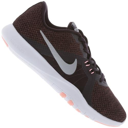 Menor Preco Em Tenis Nike Flex Trainer 8 Feminino Vinho Cinza Cla