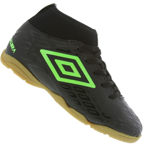 9977554cdb Chuteira Futsal Umbro Calibra IC - Infantil - PRETO VERDE CLA ...