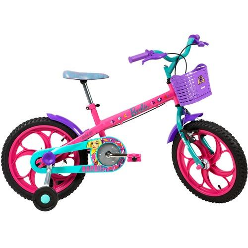 Bicicleta Caloi Barbie Aro 16 Rígida 1 Marcha - Rosa/roxo