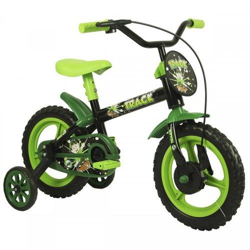 Bicicleta Track&bikes Arco-íris Aro 12 Rígida 1 Marcha - Preto/verde