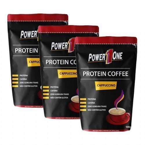 Café Proteico Power One Protein Coffee - Capuccino - 100g - 3 Pacotes 83e13c84967c7