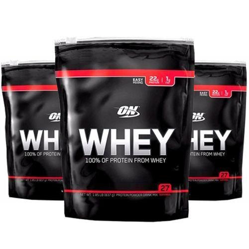 Whey Protein Optimum Nutrition 100% of Protein from Whey Refil - Chocolate  - 837g - 3 Pacotes 47986adce729b