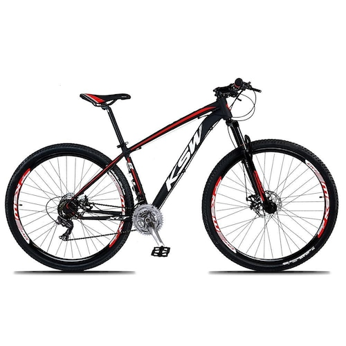 Bicicleta Ksw Xlt Tx-800 Disc M T17 Aro 29 Susp. Dianteira 24 Marchas - Branco/preto