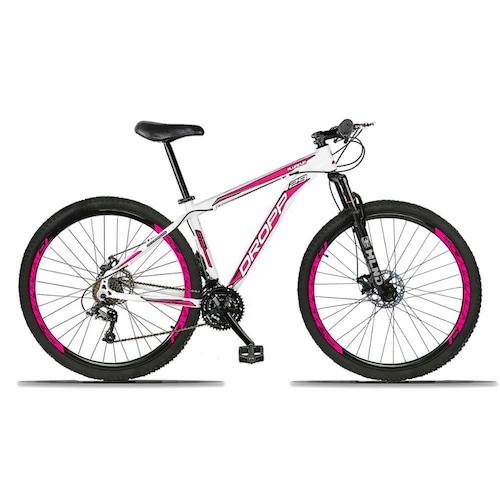 Bicicleta Dropp Aluminum Disc M T15 Aro 29 Susp. Dianteira 21 Marchas - Branco/rosa