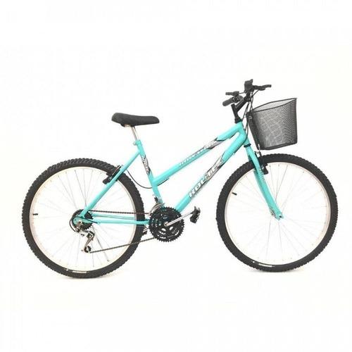 Bicicleta Mtb Feminina Aro 26 18 Velocidades Freios V-brake - AZUL - Tamanho Único