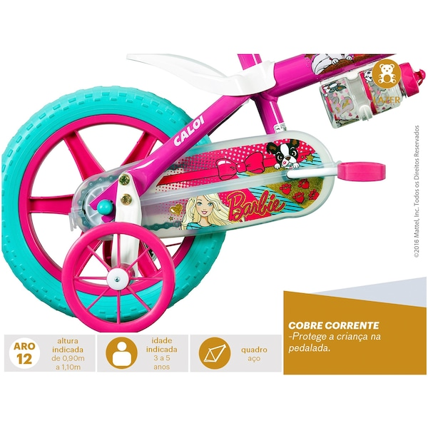 8f55991a4 Bicicleta Caloi Barbie - Aro 12 - Freio a Tambor - Feminina - Infantil