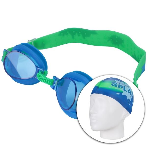 Kit de Natação Speedo Splash com Óculos + Touca + Bastão Flexível Jacaré - Infantil