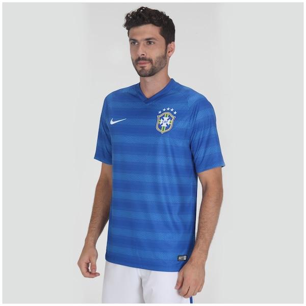 aafeed0b3 ... Masculina Camisa do Brasil Azul Nike Torcedor 2014 s n°- ...