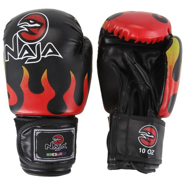 Kit de Boxe Naja Fogo com Luva 10 OZ Bandagem e Protetor Bucal  - Adulto