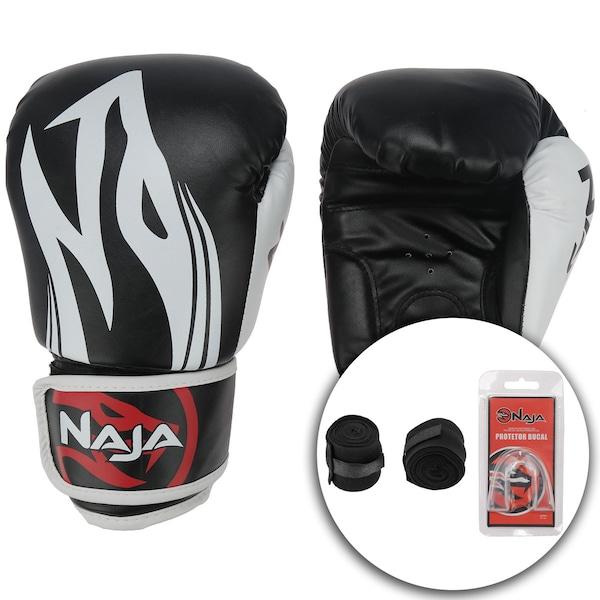 Kit de Boxe Naja com Luva 12 OZ Bandagem e Protetor Bucal - Adulto