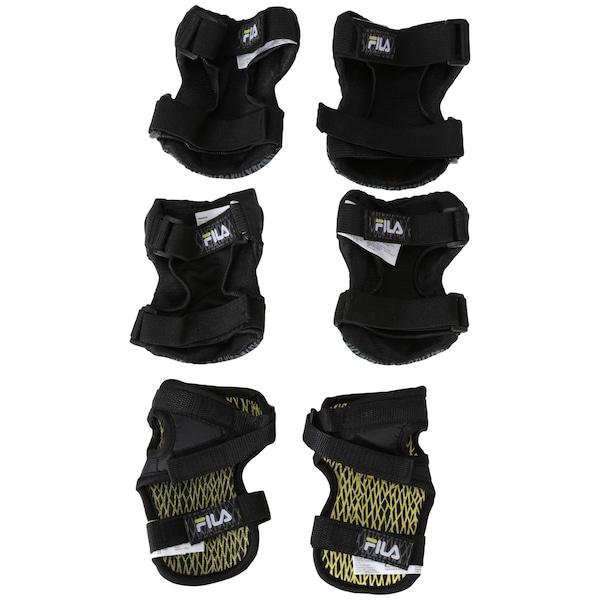 Kit de Proteção para Skate Fila FP com 2 Cotoveleiras, 2 Joelheiras e 2 Munhequeiras - Adulto