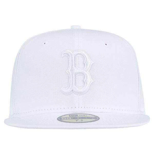 Boné Aba Reta New Era 59FIFTY Boston Red Sox MLB White on White - Fechado - Adulto