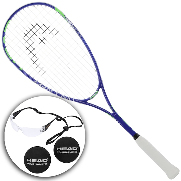 Kit de Squash com Raquete + Óculos + 2 Bolas Head Elite - Adulto