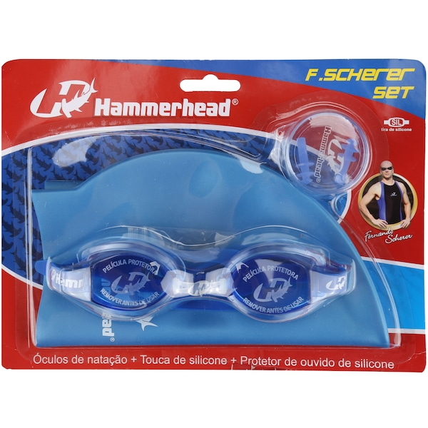 Kit de Natação Hammerhead F. Scherer Set com Óculos, Touca e Protetor de Ouvido - Adulto