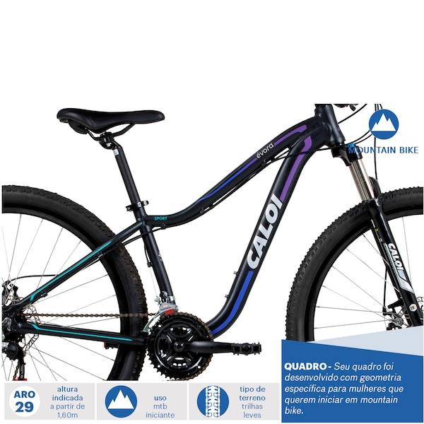 562983327 Mountain Bike Caloi Évora - Aro 29 - Freio a Disco Mecânico - Câmbio  Shimano - 21 Marchas - Feminina