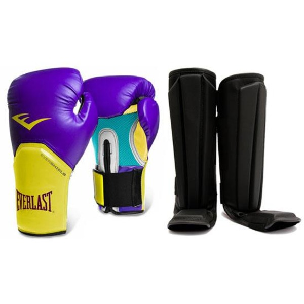Luva Muay Thai Everlast Pro Style Elite + Caneleira Anatômica 57a7059f2cd51