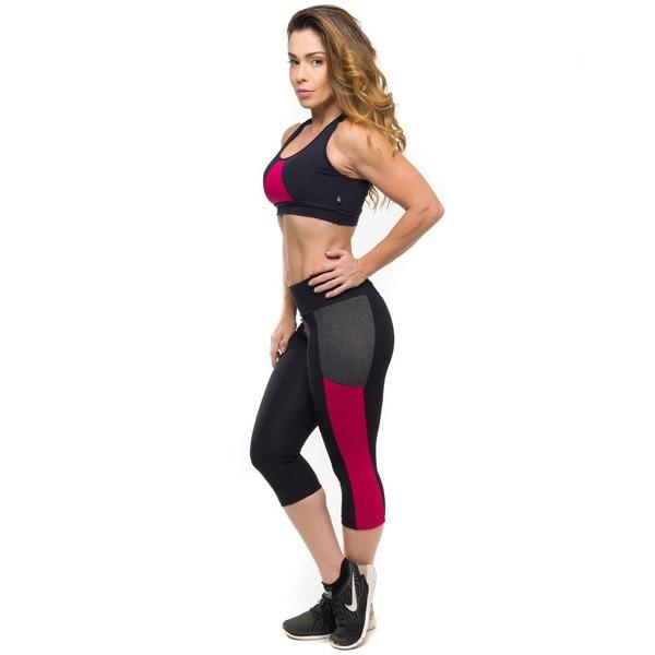 c56e1a042 Conjunto Sandy Fitness Running Rouge com Proteção Solar UV50+  Top + Calça  Corsário - Feminino